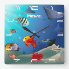 Sea Life Scene Square Wall Clock