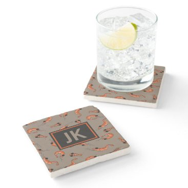 Beach Themed Sea life shrimp marble stone coaster