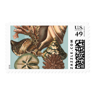Sea Life Silhouette Postage Stamp