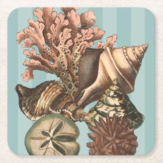 Sea Life Silhouette Square Paper Coaster