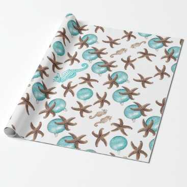Christmas Themed Sea Life Tropical Pattern Christmas Gift Wrap