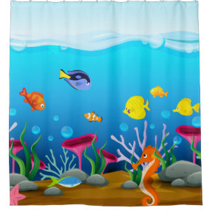 Sea Life Under The Shower Curtain