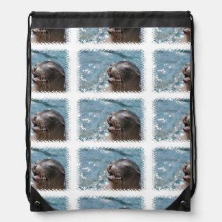 Sea Lion Drawstring Backpack