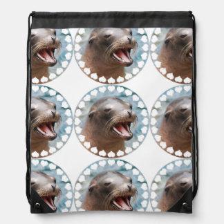 Sea Lion Drawstring Bags