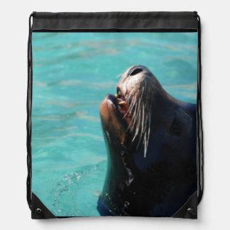 Sea Lion Getting Some Air Cinch Bags