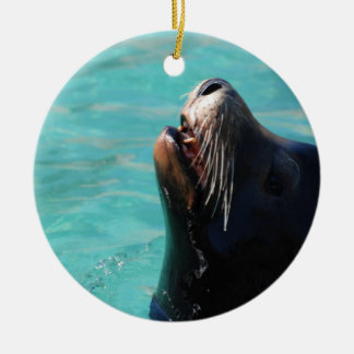 Sea Lion Getting Some Air Christmas Ornaments