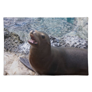 sea lion mouth open photo cute sea animal placemat
