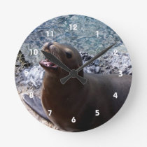 sea lion mouth open photo cute sea animal round clock