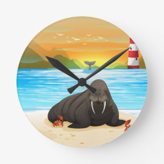 Sea lion round clock