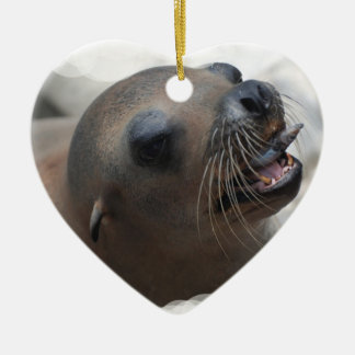 Sea Lion Snacking Christmas Ornament