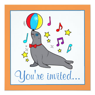 Sea Lion with Beach Ball Cartoon with Music Notes Card