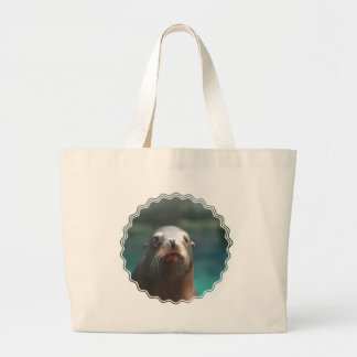 Sea Lion with Whiskers Large Tote Bag