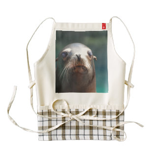 Sea Lion with Whiskers Zazzle HEART Apron