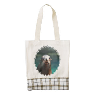 Sea Lion with Whiskers Zazzle HEART Tote Bag