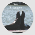 Sea Lions @ Fisherman's Wharf 8/2/... - Customized Round Stickers