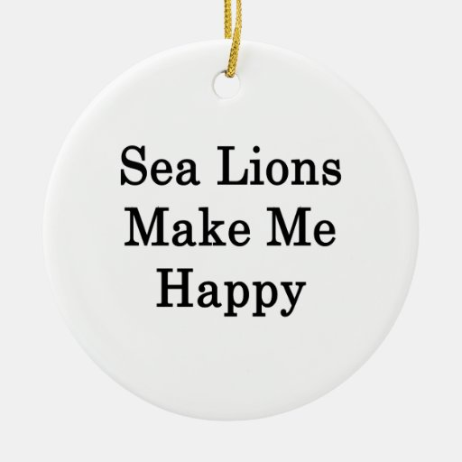 Sea Lions Make Me Happy Double-Sided Ceramic Round Christmas Ornament