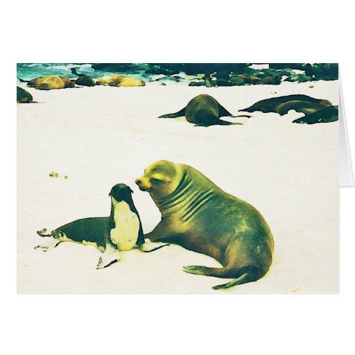 Sea Lions - Mom kissing Pup Greeting Card