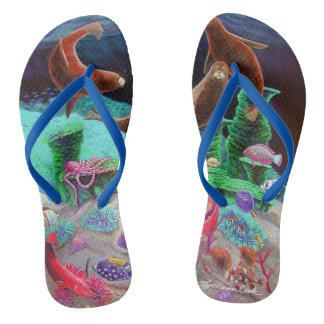 Sea Lions underwater ocean tropical fish colorful Flip Flops