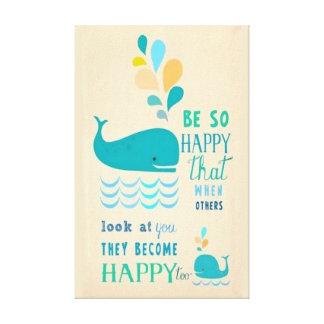 Sea lona feliz de la ballena lona envuelta para galerías