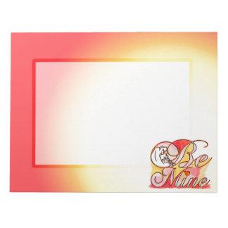 Sea los míos libreta romántica del diseño del bloc de papel