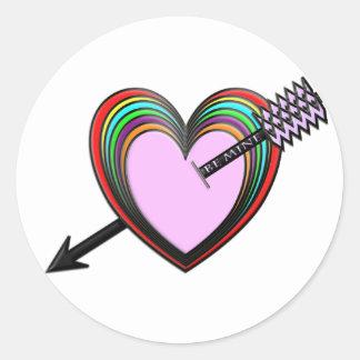 Sea los míos - los corazones coloridos con la pegatina redonda