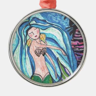 Sea Maiden Silver-Colored Round Ornament