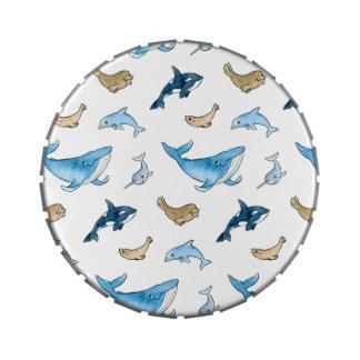 Sea mammals pattern candy tins