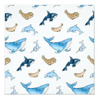 Sea mammals pattern card