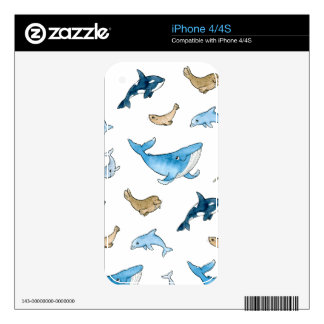 Sea mammals pattern decals for iPhone 4