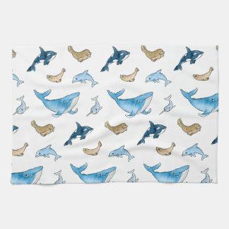 Sea mammals pattern hand towel