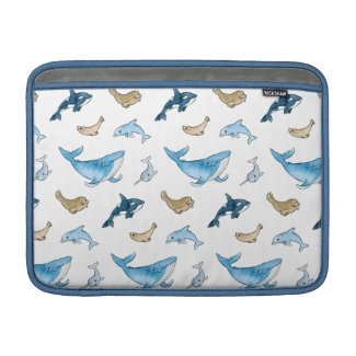 Sea mammals pattern MacBook sleeve