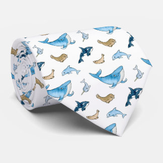 Sea mammals pattern neck tie