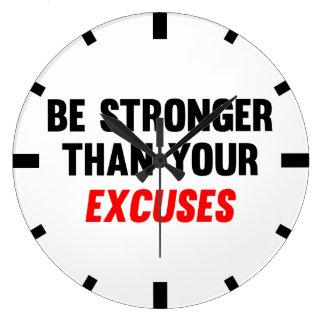 Sea más fuertes que sus excusas reloj redondo grande