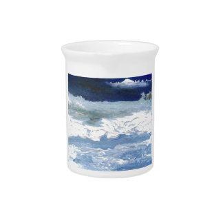 Sea Meeting Rocks Ocean Waves Art Gifts Pitcher