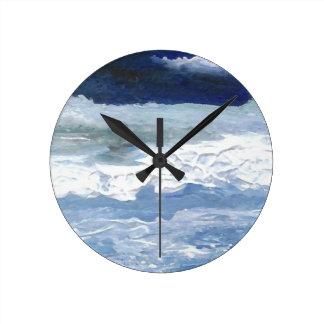 Sea Meeting Rocks Ocean Waves Art Gifts Round Clock