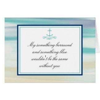 Sea mi acuarela y ancla del océano de la dama de h felicitacion