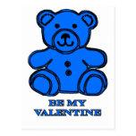 Sea mi azul del oso de la tarjeta del día de San Postal