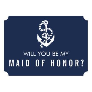 """Sea mi criada de la cuerda y del ancla náuticas de invitación 5"""" x 7"""""""