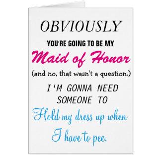 Sea mi criada del honor tarjeta de felicitación