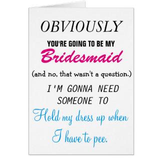 Sea mi dama de honor - cuñada futura tarjeta de felicitación