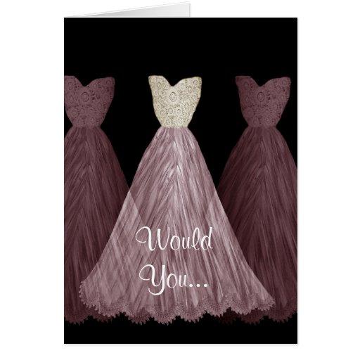 Sea mi dama de honor - invitación de boda de los tarjetón