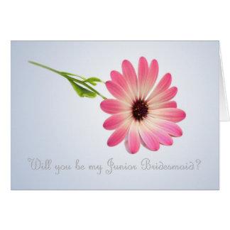 Sea mi dama de honor menor - tarjeta rosada de la
