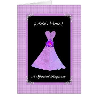 Sea mi dama de honor menor - vestido PÚRPURA de la Tarjeta De Felicitación