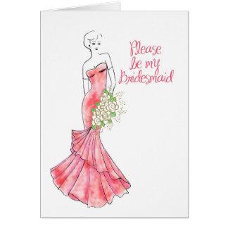 sea mi dama de honor tarjeta de felicitación