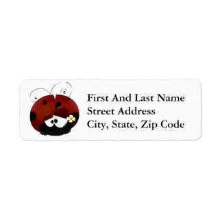 Sea mi dibujo animado rojo de la mariquita de la etiqueta de remitente