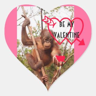 Sea mi forma del corazón de la tarjeta del día de pegatina en forma de corazón