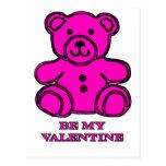 Sea mi magenta del oso de la tarjeta del día de postal
