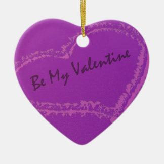 Sea mi ornamento de la tarjeta del día de San Adorno Navideño De Cerámica En Forma De Corazón