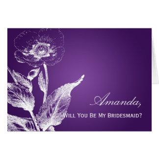 Sea mi púrpura de la amapola de la dama de honor tarjeta
