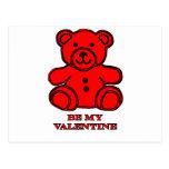 Sea mi rojo del oso de la tarjeta del día de San Postal